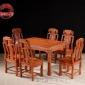 蔚鹜红木家具明清古典餐台非洲花梨木实木家具长方形餐桌椅七件套