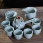 尚客 陶瓷复古窑变 建盏礼品茶具套装 侧把壶 茶碗杯 礼盒装