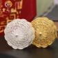 中秋纯银月饼礼品 AG999白银镀足金月饼 花丝镂空工艺足银月饼