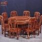 红木家具厂家直销花梨木圆桌雕花全实木象头如意圆桌餐椅组合餐桌