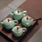 汝窑功夫茶具开片汝瓷茶壶旅行茶具单壶单杯办公家用礼品茶壶茶具